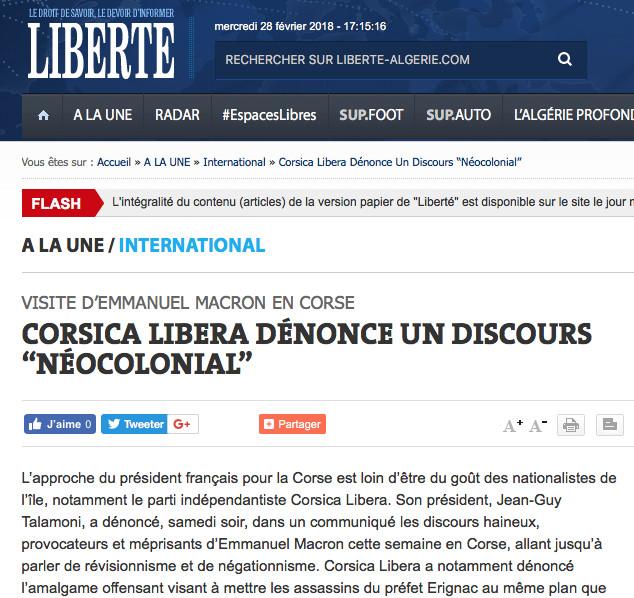 """Le """"problème corse"""" vu… d'Algérie !"""