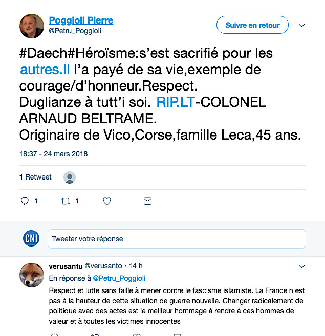 Arnaud Beltrame  : L'hommage des internautes corses