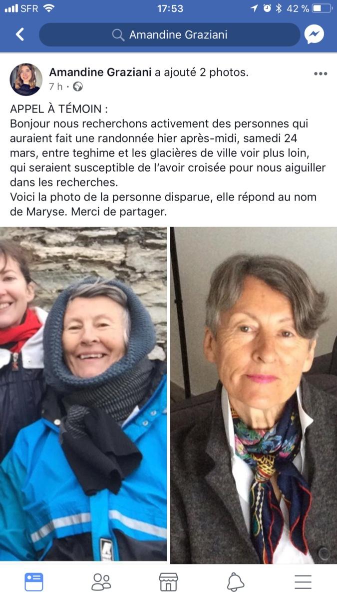 Bastia : Appel à témoins pour une personne disparue entre Teghime et les glacières  de Ville-di-Pietrabugnu