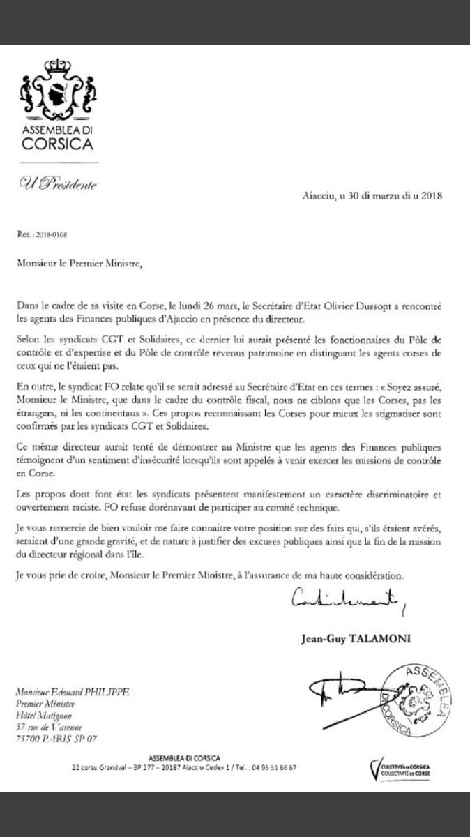 Propos anti-corses : Les syndicats et Jean-Guy Talamoni demandent le départ du directeur des Finances publiques
