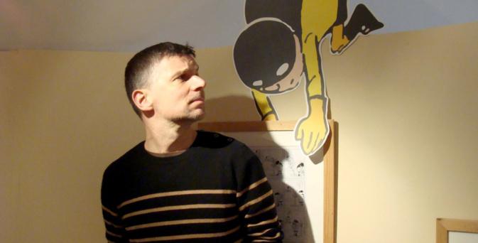 Pascal Jousselin et son super-héros Imbattable au centre culturel