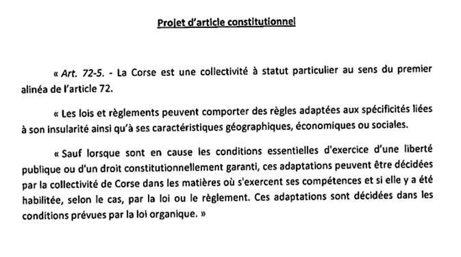 Corse : Le projet d'article constitutionnel transmis au Conseil d'Etat