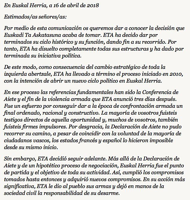 Nationalisme : Fin de l'histoire pour ETA