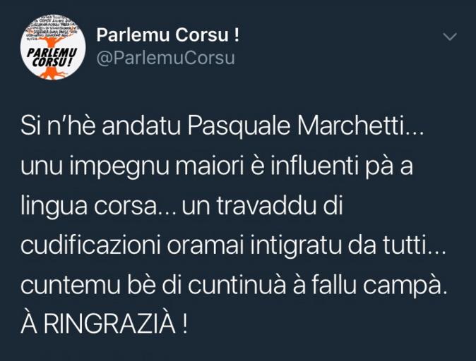 Lingua Corsa : Pascal Marchetti si n'hè andatu
