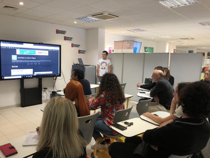 Brandon Andréani a présenté son blog «Scrivimu a nostra lingua» dans les locaux de Canopé.