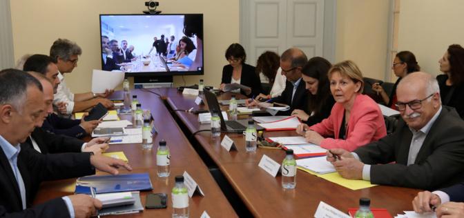 La préfète de Corse et les élus en visio-conference avec Bastia (Photos MJT)