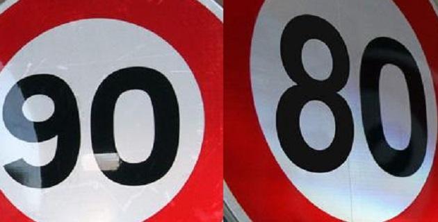 Vitesse limitée à 80 km/h sur les routes secondaires