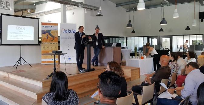 Jean-Christophe Angelini, Conseiller Exécutif de Corse, président de l'Agence de développement économique de la Corse et de Dominique Filippini, Président du Comité de sélection et de suivi de projets d'INIZIÀ.