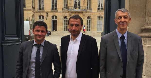 Les trois députés nationalistes Pè a Corsica, Jean-Félix Acquaviva, Paul-André Colombani et Michel Castellani.