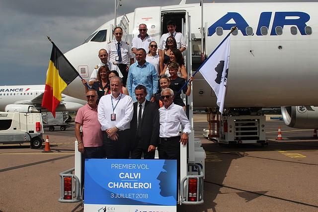 Air Corsica a inauguré son vol Bruxelles-Charleroi-Calvi