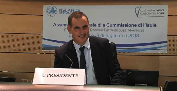 Gilles Simeoni, Président du Conseil Exécutif de Corse, a été réélu à l'unanimité, jeudi matin, Président de la Commission des Iles, lors de l'Assemblée générale à Bastia.