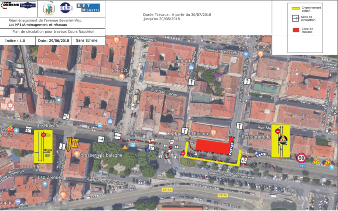 Ajaccio : Réaménagement et plan de circulation, avenue Beverini