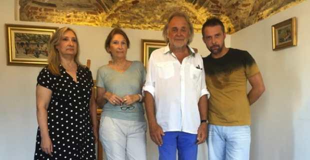 """Lucia et Elisabeth Gillio, André Casabianca et René Rossi, fondateur de l'association culturelle """"Bastia Citadelle"""""""