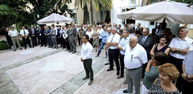 Soirée d'adieux à la préfecture de région : Jean-Philippe Legueult, Romain Delmon et Géraldine Boffil quittent la Corse