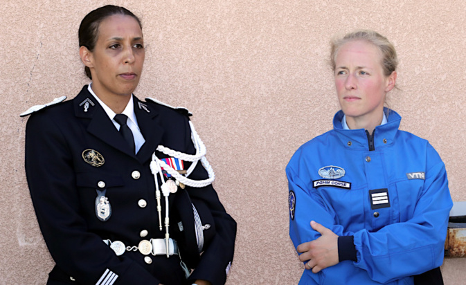 La chef d'Escadron Sabrina Perrault et la capitaine Marie Sachot (Photo Michel Luccioni)
