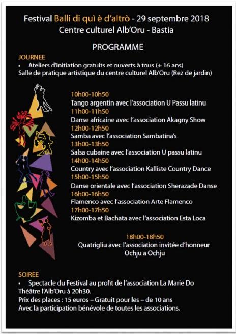Le programme de ce 1er Festival de danses traditionnelles et du monde