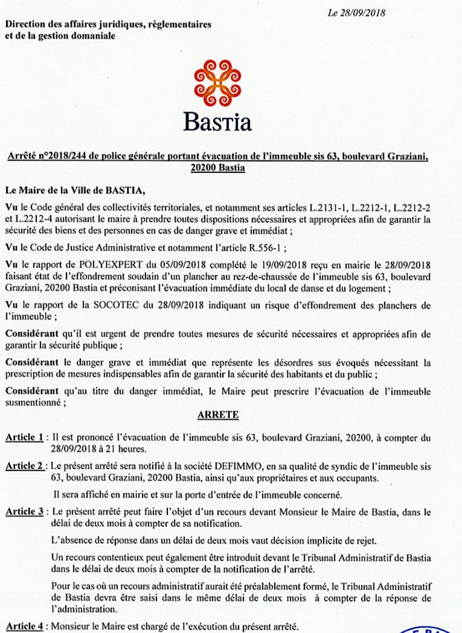 Peril imminent : Arrêté d'évacuation d'un immeuble du boulevard Graziani à Bastia