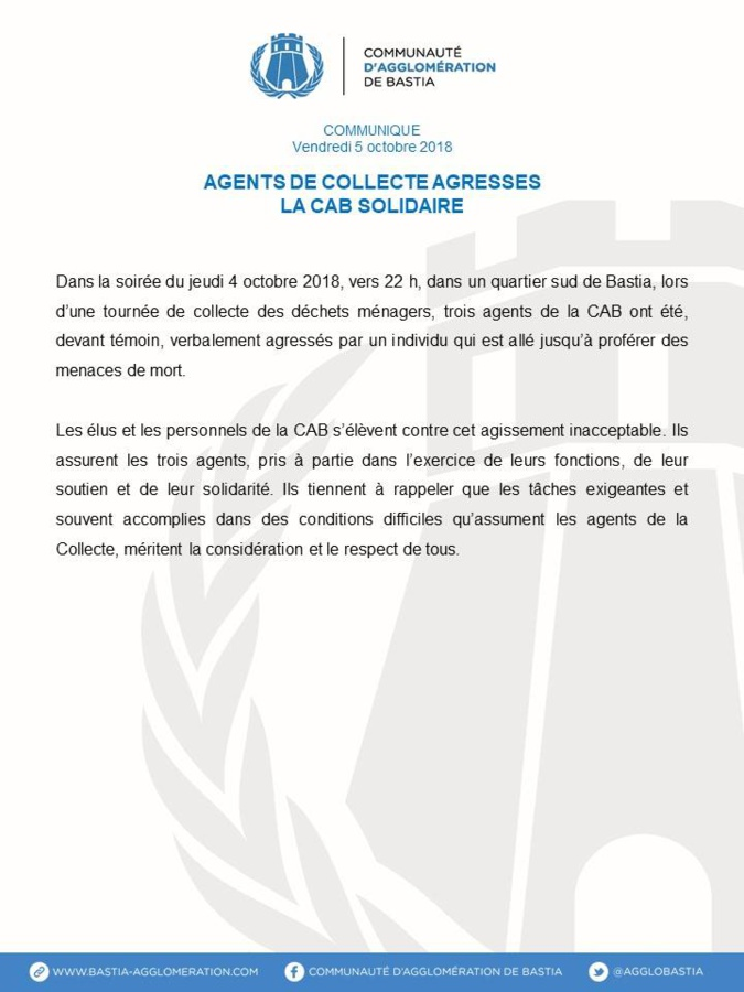 Bastia : Le soutien des élus de la CAB et du STC-CAB après l'agression verbale à trois agents de collecte