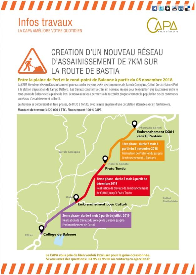 Les trois phases des travaux de la route de Bastia