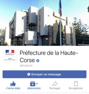 Lancement de la page Facebook de la préfecture de la Haute-Corse