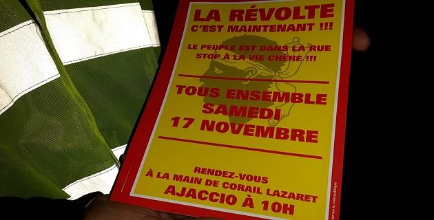 17 novembre : Le détails du mouvement à Ajaccio