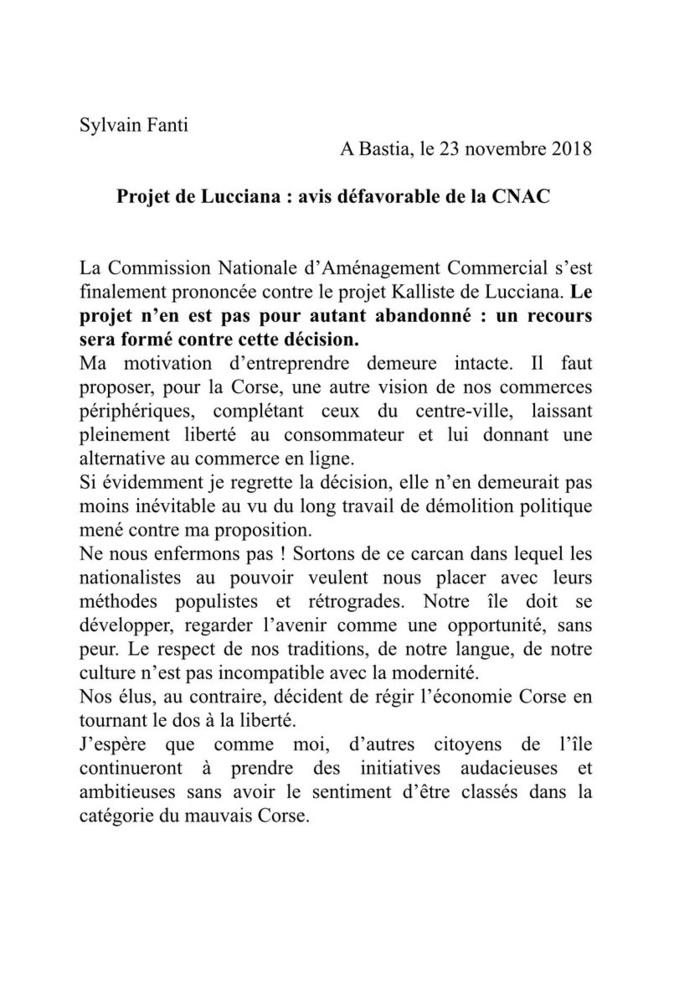 Projet de création d'un centre commercial à Lucciana : La CNAC rend un avis négatif