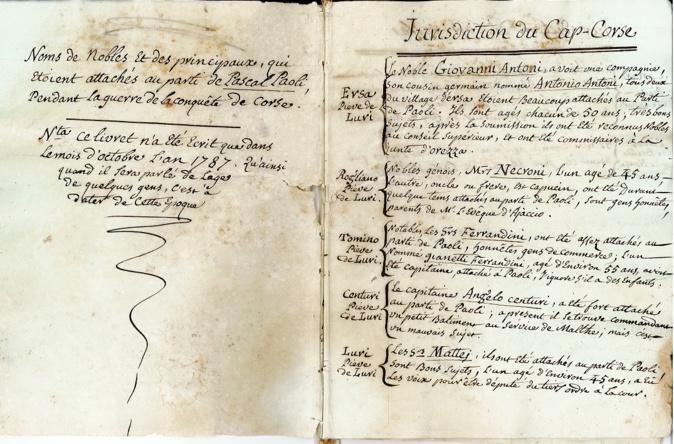 Bastia : Ce curieux manuscrit qui liste des personnes attachées au parti de Paoli lors de la conquête de la Corse…