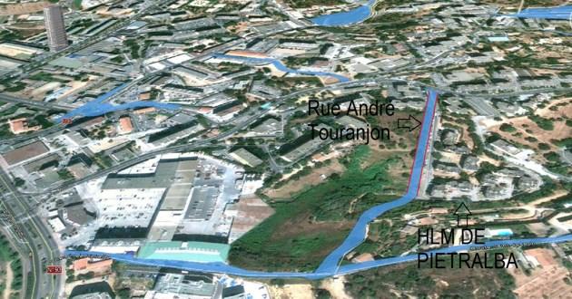Route d'accès au nouvel hôpital d'Ajaccio : Pietralba Autrement évoque des