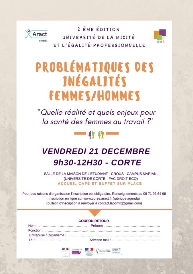 Problématiques des inégalités femmes-hommes au travail en débat à Université de la Mixité et l'Egalité Professionnelle de Corte