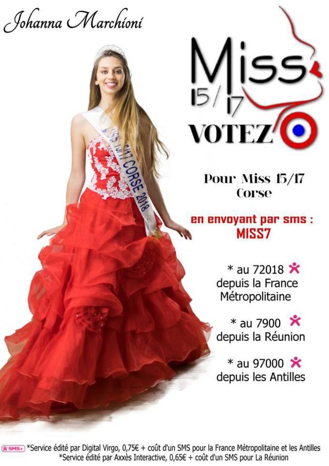 Votez pour Johanna Marchioni qui représentera la Corse pour la finale nationale de Miss 15-17 ans