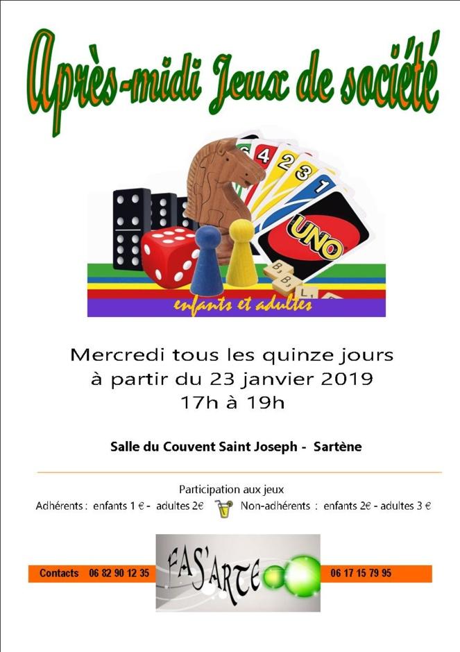 A Sartène, à partir du mercredi 23 janvier, tous les quinze jours des après-midi jeux de société