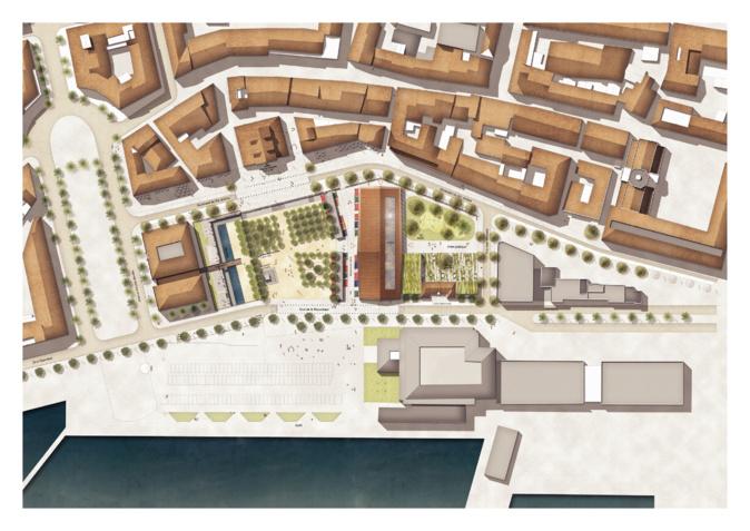 On distingue de haut le futur musée Napoléonien et la passerelle de la place Campinchi.