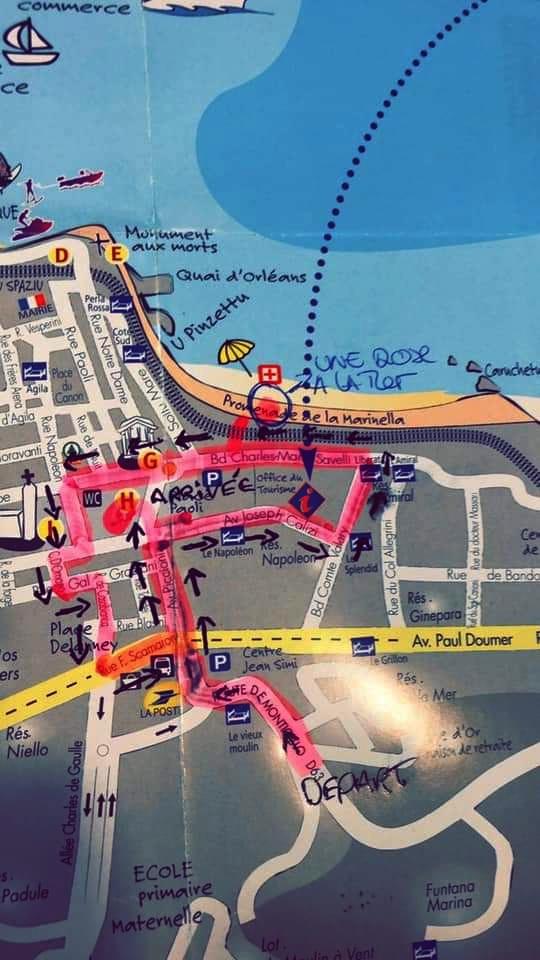 Le parcours de la Marche silencieuse de l'Ile-Rousse en hommage à Julie