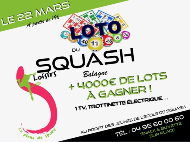 Loto du Club de Squash de Lisula ce vendredi