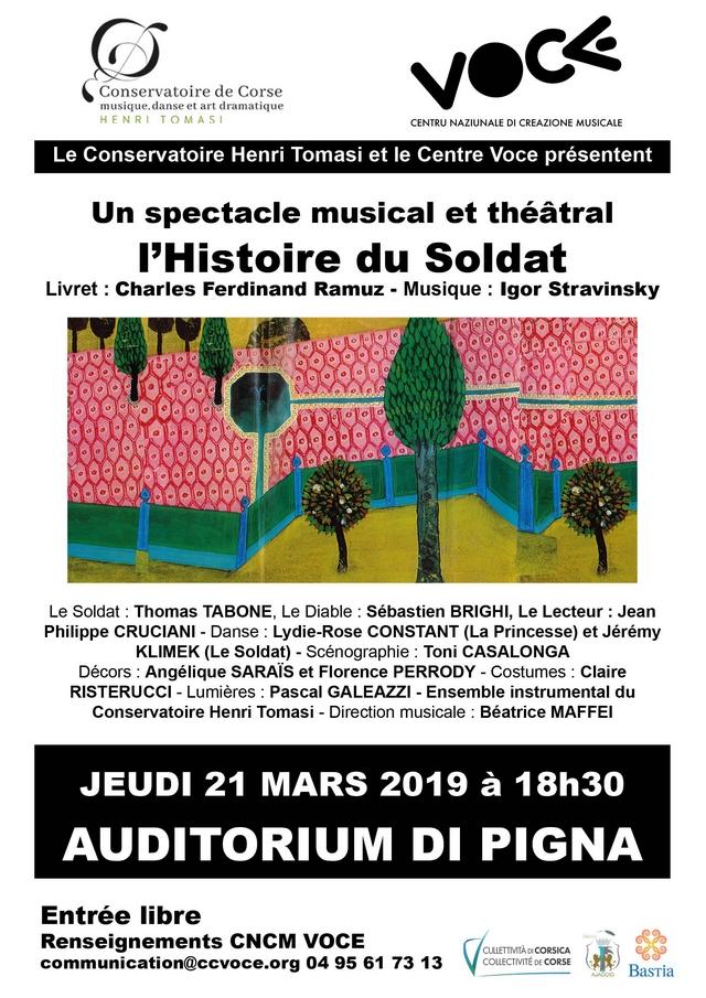 """""""L'histoire du soldat"""" à l'Auditorium de Pigna le 21 mars"""