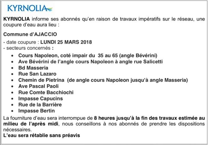 Ajaccio: avis de coupure d'eau lundi 25 mars