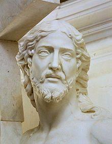 Le Christ de Michel-Ange (avec la vena nera sur le visage) exposé dans la Cathédrale  San Vincenzo Mausolée des Gistiniani