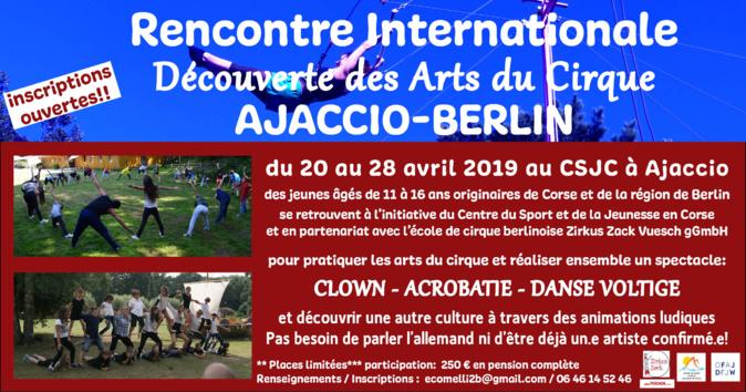 Echanges interculturels à travers les arts du cirque  au CSJC d'Ajaccio, du 20 au 28 avril.