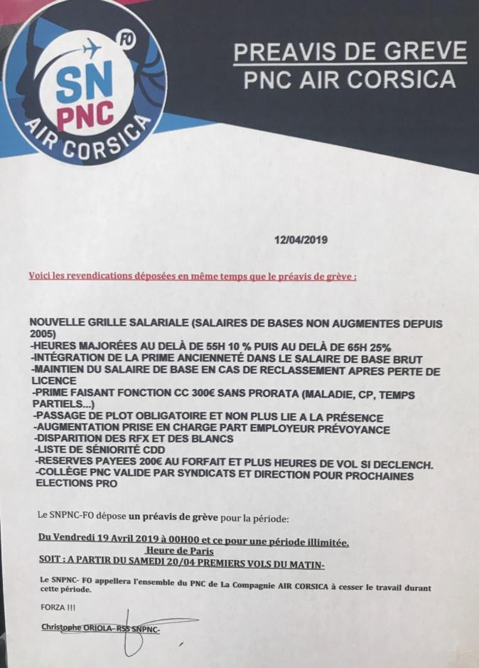 Air Corsica : un préavis de grève illimitée à partir du 19 Avril
