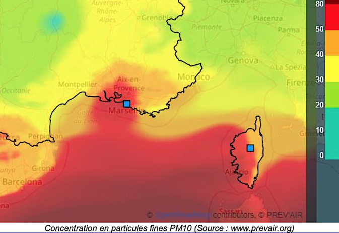 Corse : Episode de pollution aux particules fines lundi