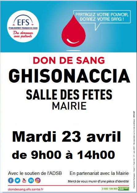 Don de sang : prochaine collecte de sang demain à Ghisonaccia