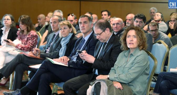 Josiane Chevalier préfète de Corse,Gilles Simeoni, président du Conseil exécutif de Corse lors du séminaire (Photo Michel Luccioni)
