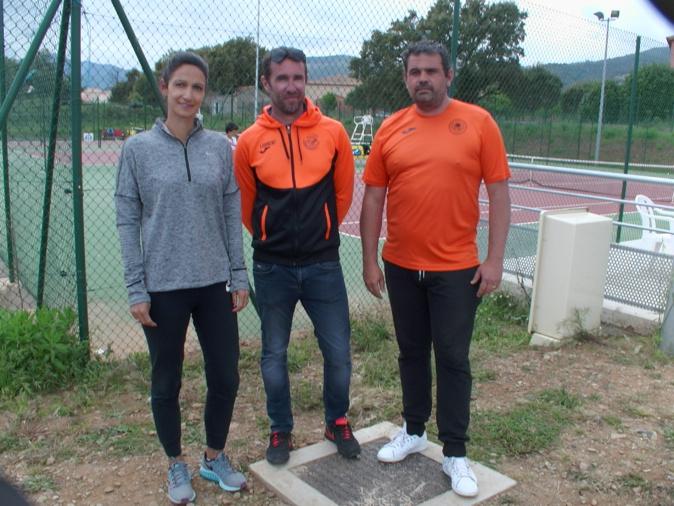 Mikaela Huet, entraîneur, Laurent Ruel, directeur sportif et Arnaud Andreani, directeur du tournoi