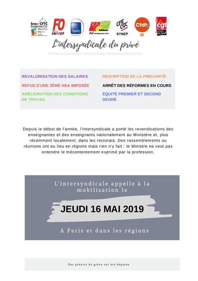16 mai : l'intersyndicale de l'enseignement privé appelle à la grève
