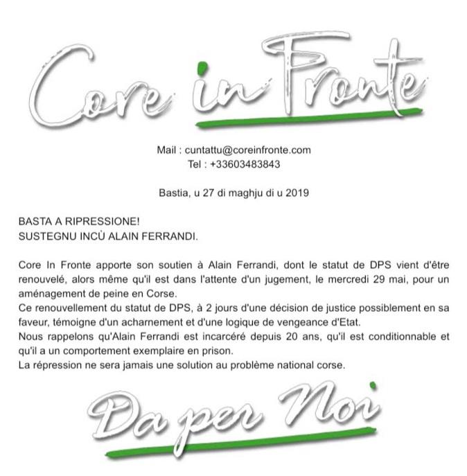 """Alain Ferrandi reste un """"détenu particulièrement signalé"""""""