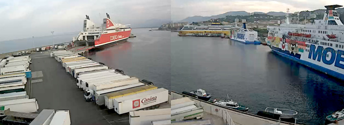 A 21 heures la situation était figée sur le plan d'eau du port de Bastia (Webcam CCI)