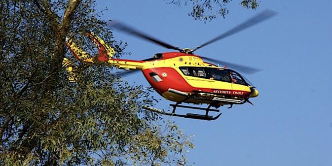 la victime évacuée par hélicoptère (photo illustration)
