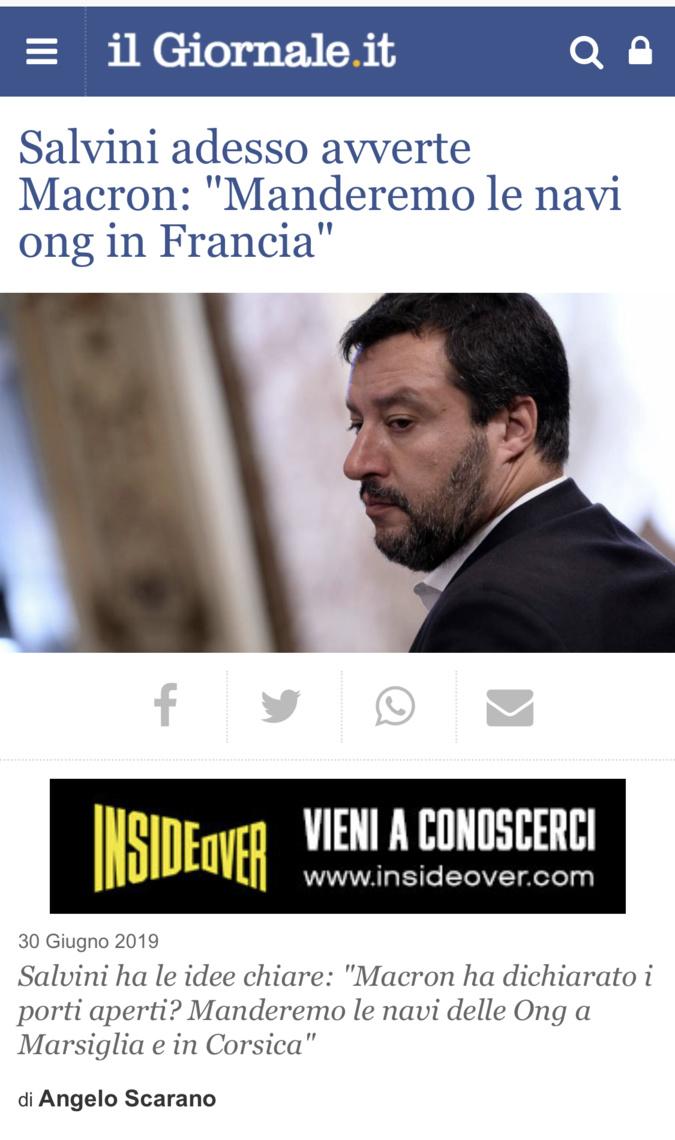 """Le premier ministre italien à Macron : """"Nous ferons accoster les navires humanitaires en Corse"""""""