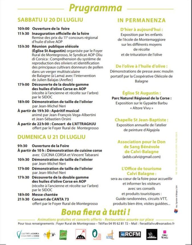 A Fiera di l'Alivu :  c'est du 20 au 21 juillet