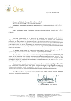 Pollutions des navires dans le port d'Ajaccio : Laurent Marcangeli demande la tenue d'une table ronde